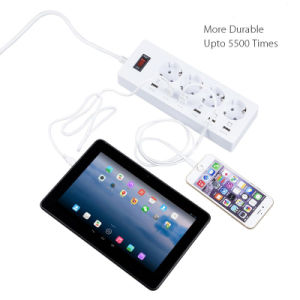 4 Port EU Plug Outlet 6 Ports USB Wall Socket Power with Switch for Smartphones Tablets pictures & photos