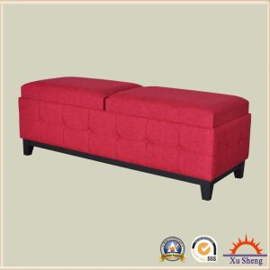 Fabric Rectangle Tufted Storage Bench Ottoman with Tray Top pictures & photos