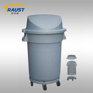 Plastic Round Garbage Bin with Wheels/Plastic Swing Dustbin pictures & photos