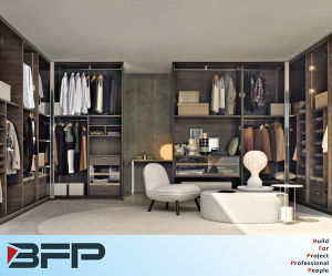 European Style Bedroom Furniture Wooden Walk in Closet pictures & photos