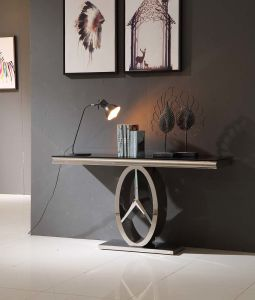Fancy Console Table with Black Tempered Glass Top pictures & photos
