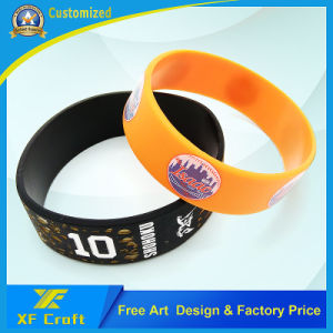 Professional Customized Printed Silicone Rubber Bracelets for Activity (XF-WB18) pictures & photos