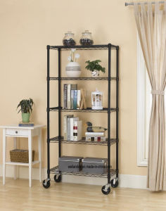 5 Layers Adjustable & Mobile 120kg Heavy Duty Steel Wire Metal Shelving for Livingroom Storage pictures & photos