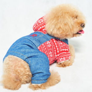 Knitted Dog Clothes Warm Jeans Pet Jumpsuit pictures & photos