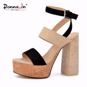 Lady Casual Microfiber Cork Platform Women High Heels Sandals Shoes pictures & photos