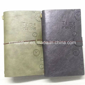 Logo Embossed A5 Leather Travel Journal with Elastic Band Bound pictures & photos