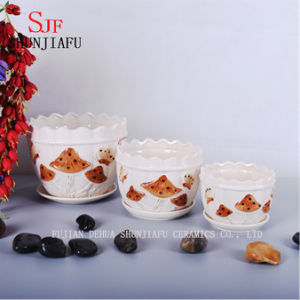 Beautiful Mushroom Pattern Ceramic Set of 3 Different Size Flowerpo pictures & photos