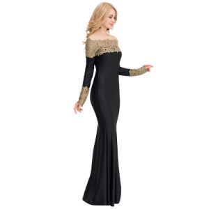 Women Slim Sexy Boat Neck Khaki Lace Evening Long Dress pictures & photos