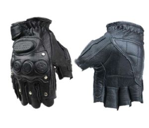 Tactical Leather Gloves Half Finger Black pictures & photos
