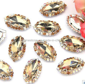 2017 Latest Rhine Diamond Ab Sew on Flatback Rhinestones Chains with Crystal (SW-Boat 9*18mm) pictures & photos