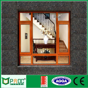 Wood Grain Aluminum Casement Windows with Ce Certificate Pnoc0090cmw pictures & photos