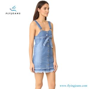 Fashionable Women 100% Cotton Denim Dress with  Adjustable Overall-Style Straps pictures & photos