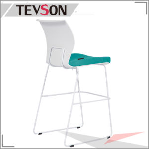 Fashion High Strength Bar Chair Bar Stool with Plastic Back and Soft Seat (DHS-PU25) pictures & photos