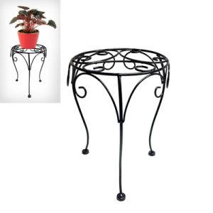 Unique Black Metal Decoration Gardem Bench Double Flowerpot Stand Craft pictures & photos