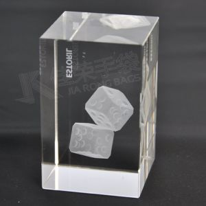 Laser Engraving Crystal Glass Cube Block with Photos pictures & photos
