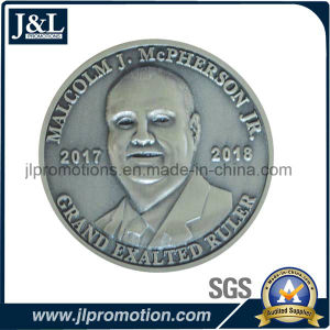 3D Head Zinc Alloy Metal Coin with Antique Silver Plating pictures & photos