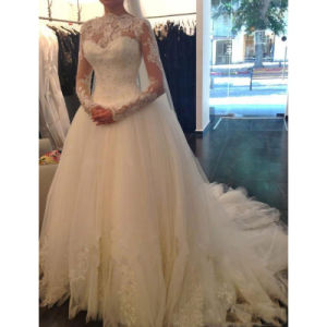 Muslim Satin Tulle Lace Decent Wedding Dress (Dream-100059) pictures & photos