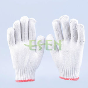 7 Gauge 800g Bleached White Cotton Knitted Glove pictures & photos