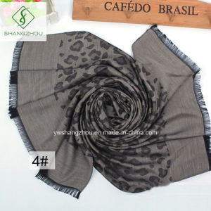 New Design Long Fashion Lady Scarf with Leopard Jacquard Shawl pictures & photos