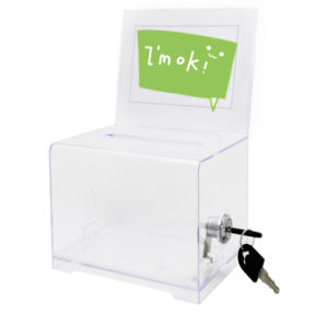 High Quality White Acrylic Donation Box with Insert Backboard pictures & photos