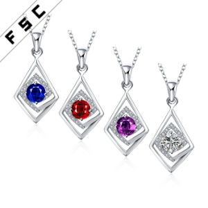 Geometrical Shape Silver Plated Fashion Diamond Pendant Necklace for Girl pictures & photos