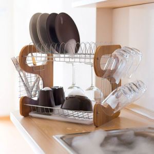 Large Kitchen Dish Rack Bamboo U0026 Stainless Steel With Drip Tray