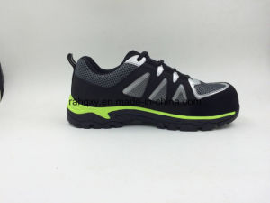 Green Rubber Outsole Fabric Women′s Safety Shoes (16065) pictures & photos