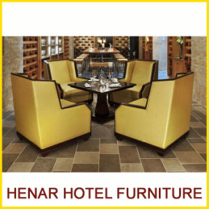 Hardwood Yellow Hotel Restaurant Furniture Table Set Cafe Sofa Chair pictures & photos