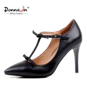 Lady Pointed-Toe High Heels T-Strap Women Bowtie Leather Dress Shoes pictures & photos