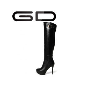 Genuine Leather Over The Knee Rubber Woman Long Boots pictures & photos