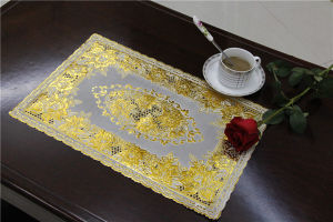 Popular Design PVC Lace Gold Tablemat Size 30*46cm Home/Coffee/Party Use pictures & photos