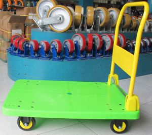 150 Kg Apple Green Plastic Platform Foldable Hand Truck pictures & photos