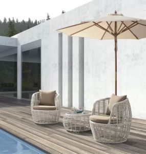 Outdoor Garden Aluminum Frame Coffee Chair & Table by Woven Rattan