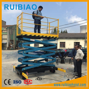 Portable Hydraulic Scissor Lift Aerial Work Lifting Platform with Solid Tyres pictures & photos