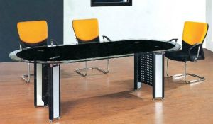 Rectangle Metal Leg Tempered Glass Conference Meeting Table /Desk (HX-GL057) pictures & photos