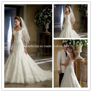 White Sweetheart Backless Cap Sleeves Long Wedding Dress Yao79 pictures & photos