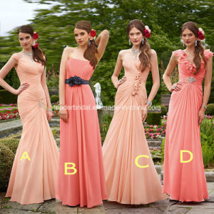 Pink and Coral Empire Cap Sleeves Long Bridesmaid Dress A12 pictures & photos