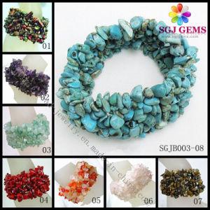 Fashion Jewelry Gemstone Chips Bracelet, Stone Chips Bracelet, Semi-Precious Stone Chips Bracelet