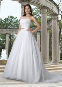 One Shoulder Tulle Ball Gown Wedding Dress (62703)