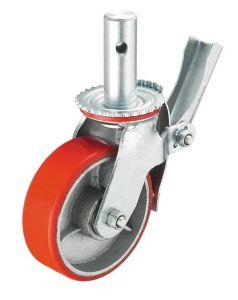 Industrial Heavy Duty Scaffolding Swivel PU Caster Wheels With Brake