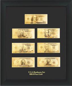 Gold Foil Banknotes-Full Set USA Dollar (JKDGB-01) for Christmas Gifts