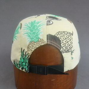 Colorful Flat Brim Camper Cap with Embossed PU Leather pictures & photos