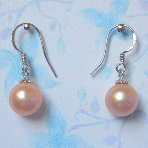 Pink Round Real Cultured Pearl Earrings (ER1444) pictures & photos
