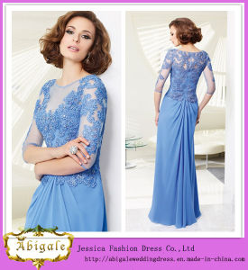 2014 Charming A Line Scoop 3/4 Sleeve Floor Length Custom Made Mother of The Bride Dresses (hs097)
