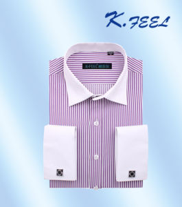 Man Shirt with Stripe Pattern and French Cuff (KFCS-433)