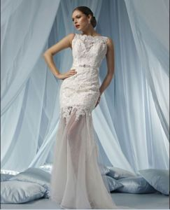 Cowl Neckline Tissue Lace and Organza Wedding Dress (WDTS101)