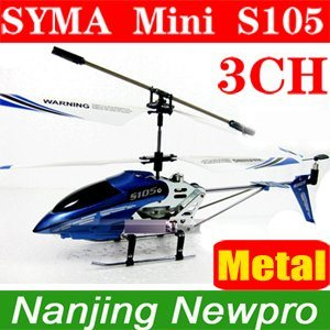 Syma Newest 22cm S105 Metal 3 CH R/C Mini Helicopter 3 Channel Micro RC Palne Rtf Gift with Flashlights+USB Charger