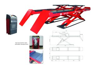4000kgs Full Rise Hydraulic Scissor Lift Table, with Second Rolling Pneumatic Jack (QJY-J-40B)