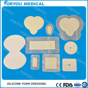 Disposal Medical Wound Dressing Heel Silicone Border Foam Dressing pictures & photos
