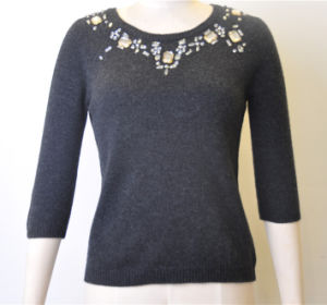 100%Lambswool Women Fit Jumper Knit Sweater with Sequins pictures & photos